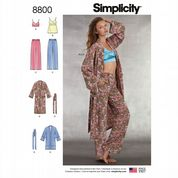 8800 Simplicity Pattern: Misses' Robe, Pull-on Trousers, Tops